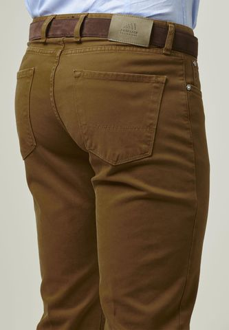 tobacco trousers 5 pockets gabardina dyed Angelico