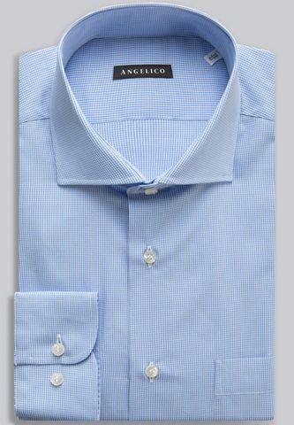camicia azzurra quadretto vichy comoda Angelico