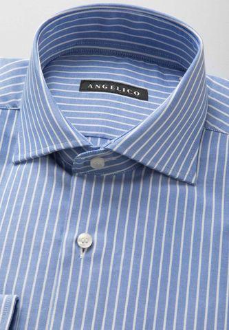 camicia bluette riga fine bianca Angelico