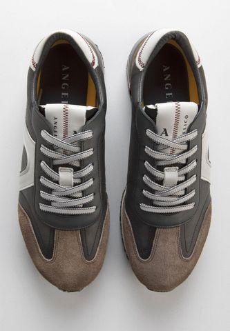 sneakers antracite pelle inserti camoscio Angelico