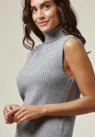 grey ribbed sleeveless turtleneck Angelico