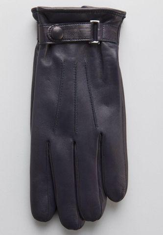 guanti blu nappa con cinturino Angelico