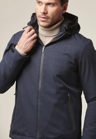 blue hooded heavy jacket technical fabric Angelico