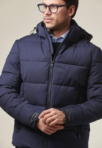 blue heavy jacket removable hood Angelico