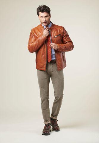 orange biker leather jacket Angelico