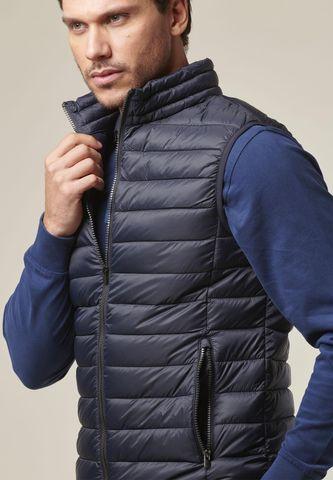 navy vest eco-down jacket Angelico