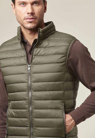 militar green vest eco-down jacke Angelico