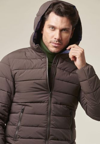 brown hooded heavy-jacket eco-down Angelico