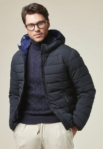 blue hooded jacket eco-down Angelico